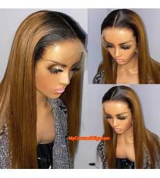 Brazilian Virgin Ombre Color Silk Straight Pre-plucked 360 Lace Wig [MCW402]