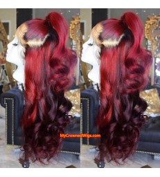 Ombre color loose wave 360 lace front human hair wig pre plucked with baby hair【LW001】