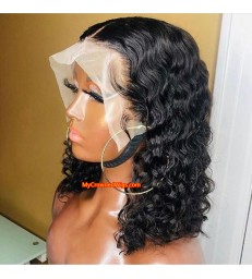 Bob curly 13*6 lace front human hair wig pre plucked with baby hair【MCW381】