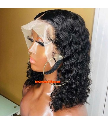 Bob curly 370 lace front human hair wig pre plucked with baby hair long deep parting【MCW381】