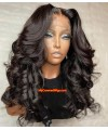 Preplucked hairline middle part loose wavy human hair 360 lace front wig [lw002]
