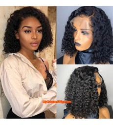 Curly bob Brazilian virgin human hair 360 frontal wig -[MCW368]