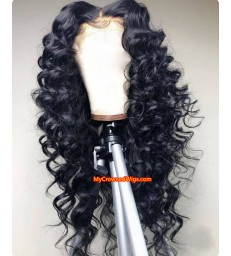 Stock Brazilian virgin tight wave 360 lace wig human hair -[MCW352]