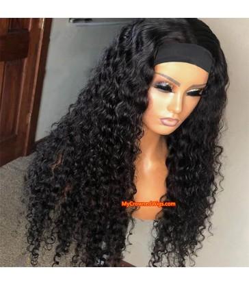 $20 off---Headband Wig Curly wave Beginner Friendly Virgin Human Hair Wigs [HW002]