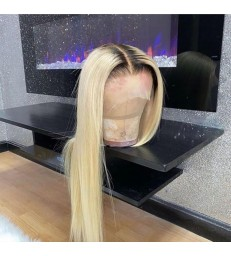 613 Wigs Dark Roots Silk Straight Lace Front Wigs Pre Plucked [LF613]