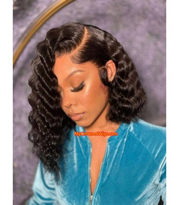 Preplucked hairline side parting natural wavy bob 360 lace front wig [NW002]