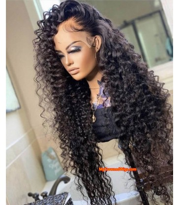 Preplucked hairline romantic curly human hair 360 lace front wig [lf008]
