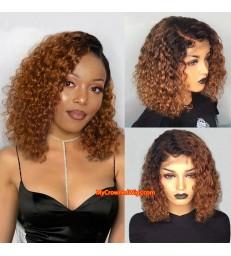 Brazilian Virgin Ombre Color Curly bob Human Hair 360 wigs--[MCWB5]