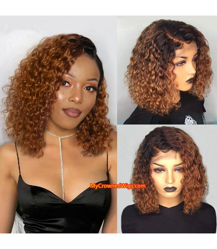 Brazilian Virgin human hair Ombre Curly bob 360 wigs with pre plucked hairline--[MCWB5]