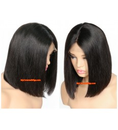 brazilian virgin hair silk straight 4x5 lace front blunt cut BOB--[MCW803]