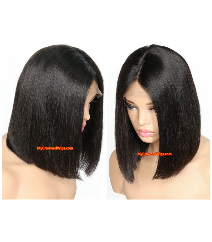 brazilian hair silk straight 4x5 lace front blunt cut BOB--[MCW803]