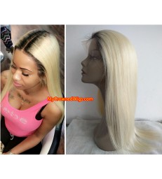 Brazilian virgin color 1b fade into color 613 straight full lace wig