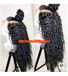 Brazilian virgin Spanish curl bleached knots lace front wig-[MCW931]