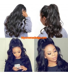 Brazilian virgin body wave bleached knots lace front wig-[MCW604]