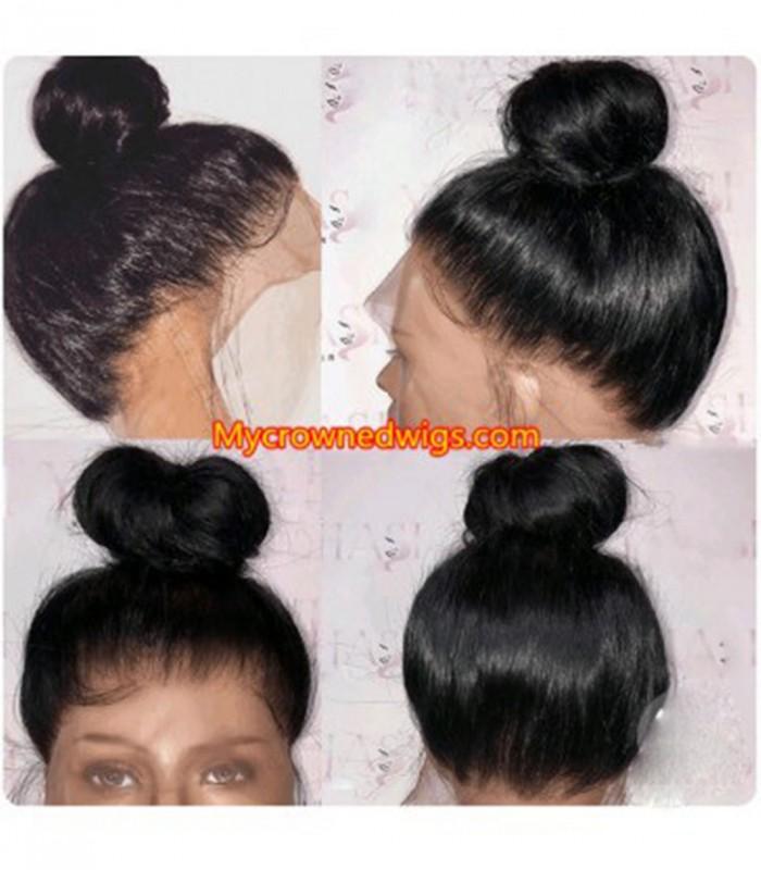 Brazilian virgin silk straight 360 silk top frontal wig -[MCW343]