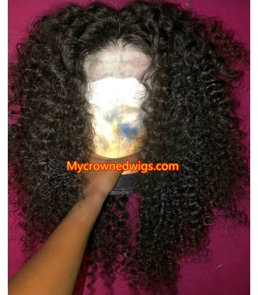 Brazilian virgin kinky curl 360 silk top frontal wig -[MCW347]