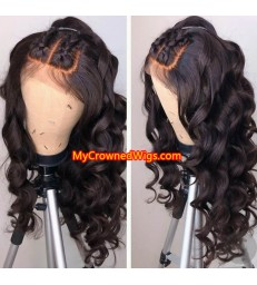 Brazilian virgin human hair Ocean wave 360 frontal wig -[MCW354]