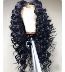 Brazilian virgin beach curl 360 wigs with pre plucked hairline--[MCW357]