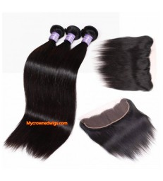 silk straight human hair 3 wefts with a lace frontal [MCW936]