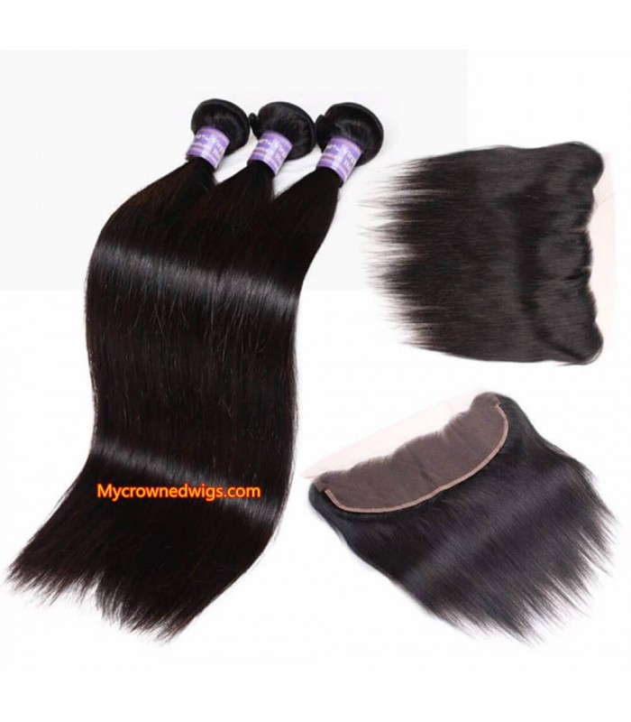 silk straight 3 brazilian virgin bundles with a brazilian virgin frontal [MCW936]
