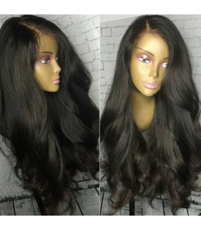 Peruvian virgin Natural wave natural color full lace wig