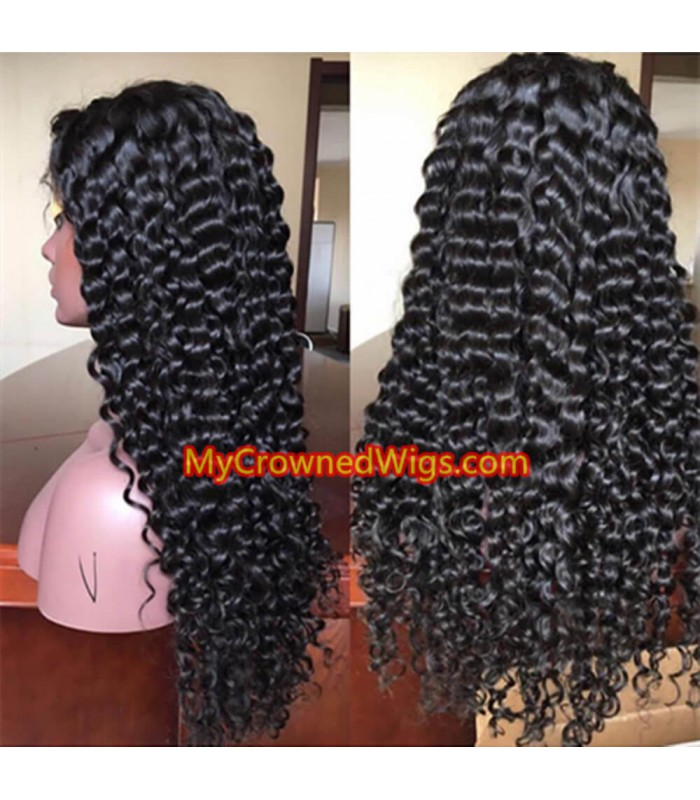 Brazilian virgin deep wave 360 frontal wig -[MCW359]