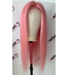 Brazilian virgin pink color silk straight bleached knots lace front wig-[MCW101]