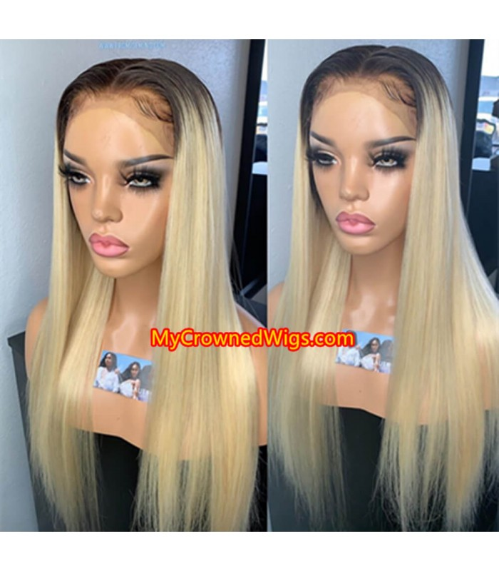 Brazilian virgin silk straight omber color Pre plucked 360 frontal wig -[mcwb4]