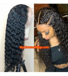 Brazilian virgin kinky wave bleached knots full lace wig-[mcw266]