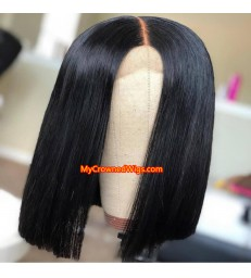 Brazilian hair silk straight blunt cut bob 2*4 closure wig--[MCW802]