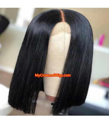 brazilian hair silk straight lace front blunt cut BOB--[MCW802]