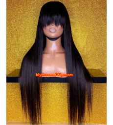Brazilian virgin silk straight glueless full lace wig with bangs -[MCW008]