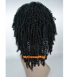 Brazilian virgin kinky curl bleached knots full lace wig-[mcw243]