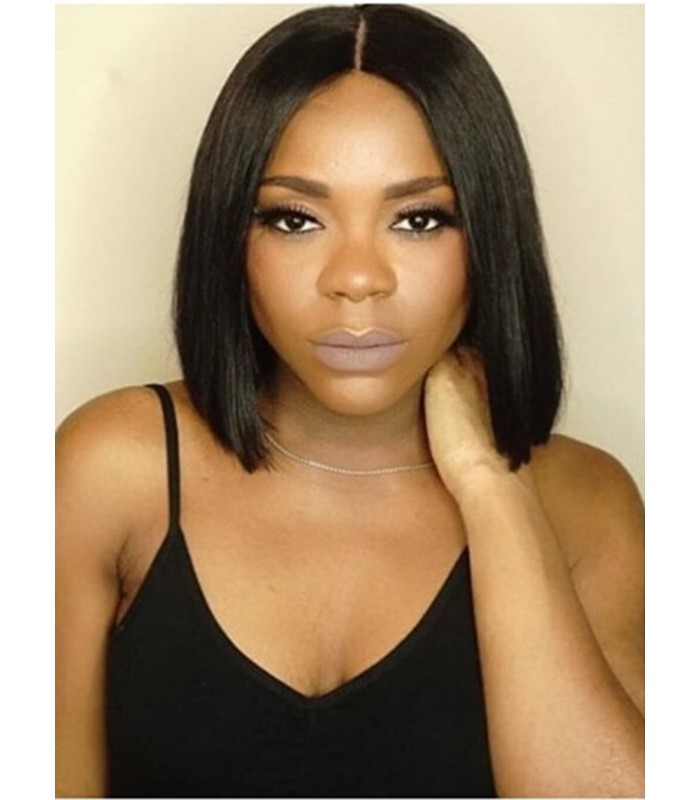 Brazilian virgin Bob style bleached knots Full lace wig