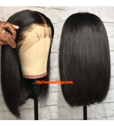 Stock Silky Straight Blunt Cut Bob Brazilian Virgin Human Hair Lace Front Wig [LF002]