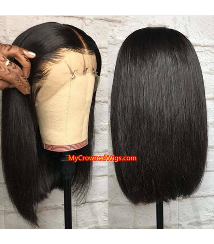 13x6 Virgin Human Hair blunt cut bob Lace Front Wigs pre plucked hairline [LF002]