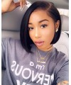50% OFF---Brazilian virgin side part bob style long parting lace frontal wig -[LF003]