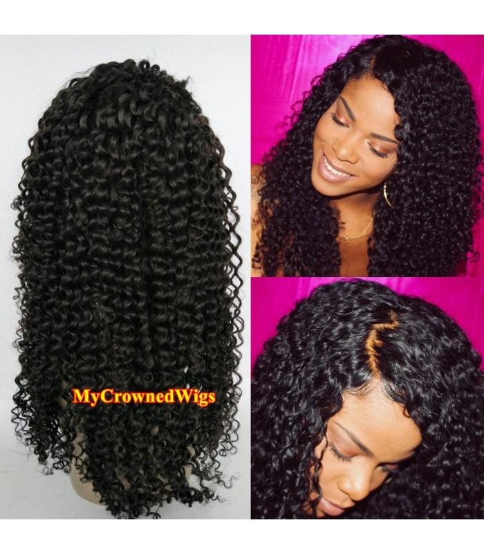 Brazilian virgin deep curly bleached knots full lace wig