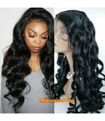 Brazilian virgin loose wave bleached knots full lace wig