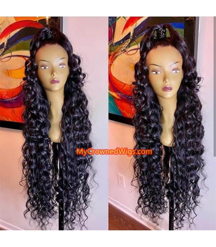 Brazilian virgin wand curls lace frontal wig -[lf006]