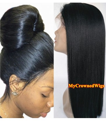 Brazilian virgin light yaki bleached knots full lace wig-[mcw003]