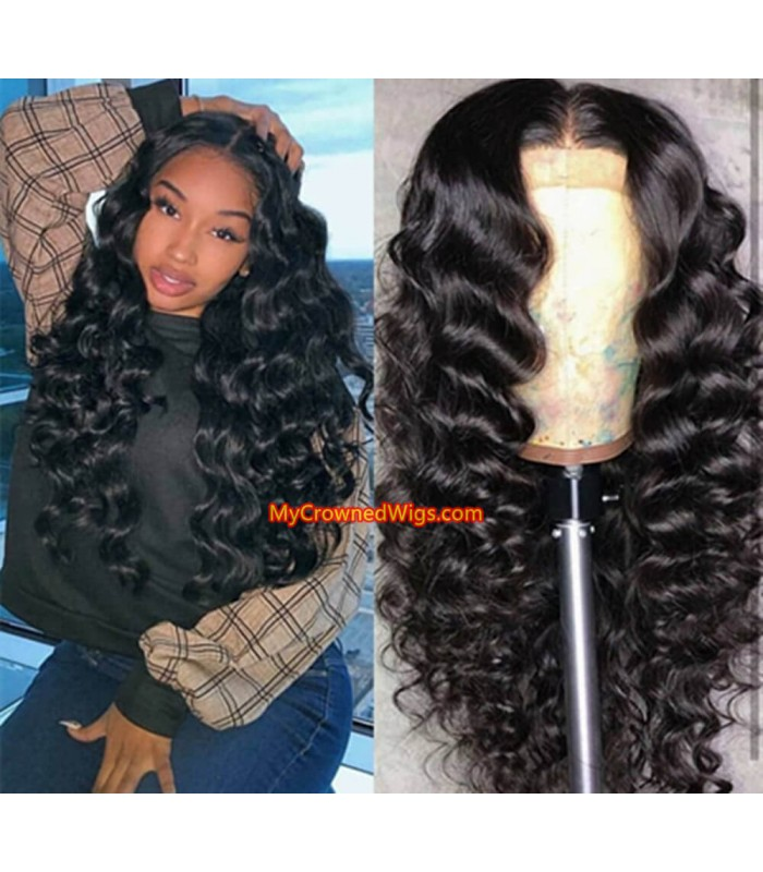 Brazilian virgin loose deep wave 360 frontal wig -[MCW352]