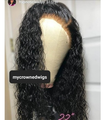 Brazilian virgin curly wave 360 silk top frontal wig -[MCW928]