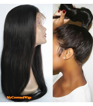 Brazilian virgin silk straight 360 silk top frontal wig -[MCW363]