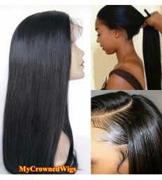 Brazilian virgin silk straight bleached knots full lace wig-[mcw001]