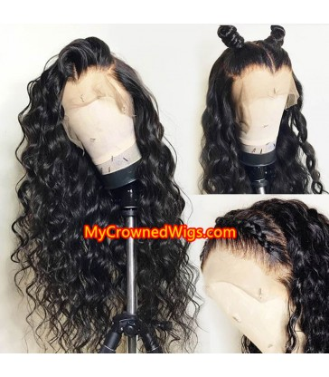 Stock Brazilian virgin beach wave 360 human hair wigs with pre plucked hairline--[MCW351]