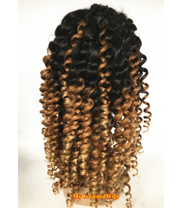 Brazilian virgin loose curl bleached knots full lace wig-[mcw300]