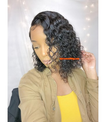 Stock Curly bob Brazilian virgin human hair 360 frontal wig -[MCW368]