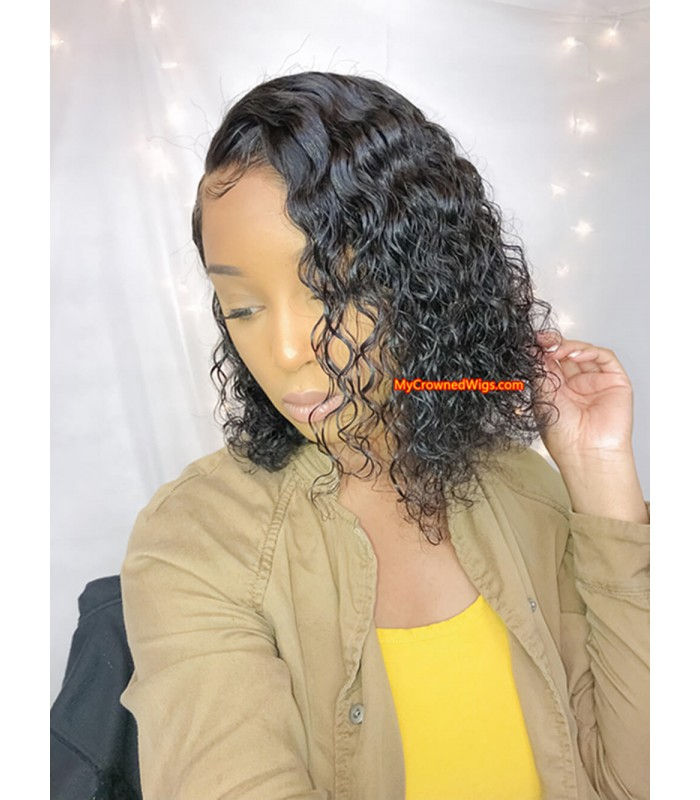 Brazilian virgin bob curl 360 silk top frontal wig -[MCW368]
