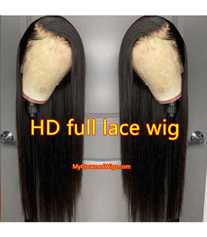 180% density HD Lace silk straight Brazilian virgin full lace wigs [HD003]